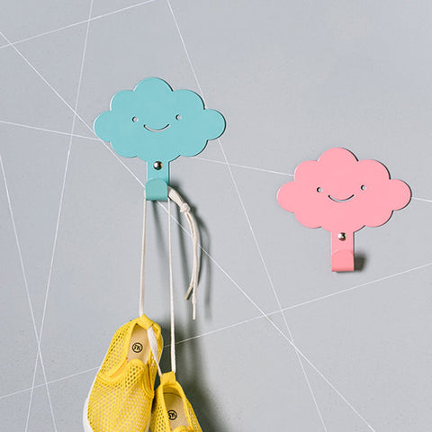 Two Cute Smily Clouds Children's Wall Hooks