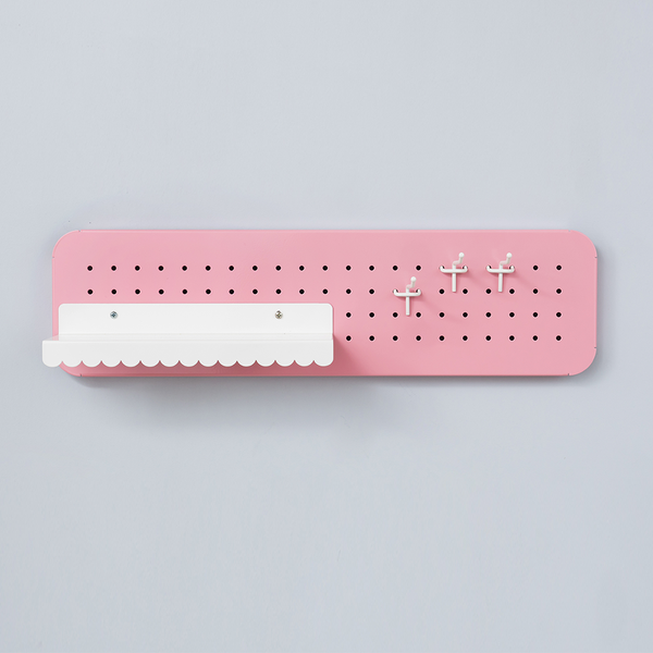 Mini scalloped shelf for pegboard