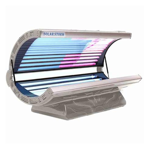 Solar Storm 24C Commercial Tanning Bed In Silver With Face Tanning - 220v