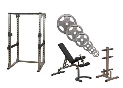Body-Solid Pro Power Rack w/Bench, OST255 Plates & Weight Tree Package