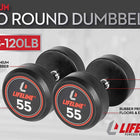 LifeLine Pro Round Rubber Dumbbell Set, 150 lbs - 3000 lbs