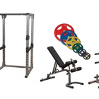 Body-Solid Pro Power Rack w/Bench, ORCT255 Plate Set & Weight Tree Package