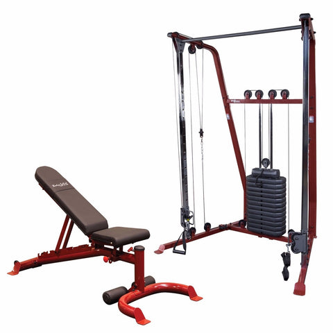 Body-Solid GFID100 Bench & BFFT10 Home Gym Functional Trainer w/190 lb Stack Package