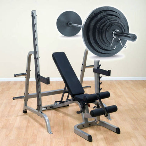 Body-Solid GPR370 Press Rack with Bench and Weight Set Package