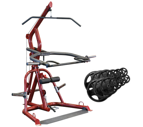 Body-Solid GLGS100 Corner Leverage Gym & ORST255 Plates Package