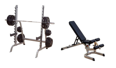 Body-Solid Fitness Multi-Press Rack w/Heavy Duty Flat Incline Decline Bench Package
