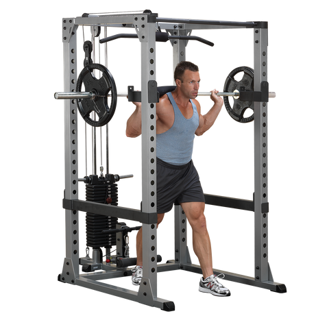 Body-Solid Power Rack w/Bench, Weight Set, Lat & Dip Attach and Weight Tree Package
