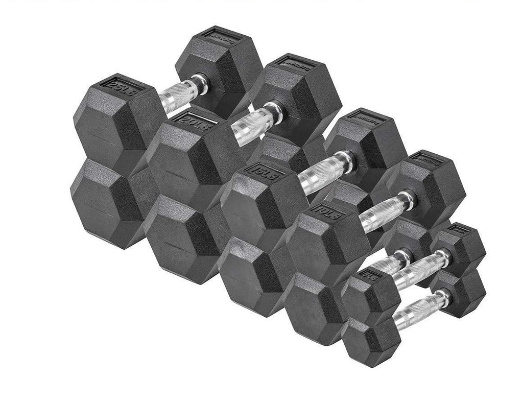 LifeLine Hex Rubber Dumbbell Set, 150lbs, 200 lbs, 380lbs & 550lbs