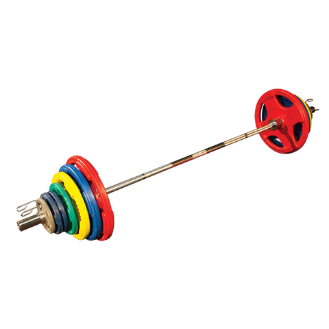 Body Solid ORCT455 Colored Rubber Grip Olympic Plate Set 455lb