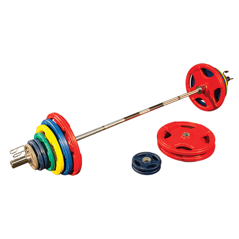 Body Solid ORC400S Colored Rubber Grip Olympic Plate Set 400lb