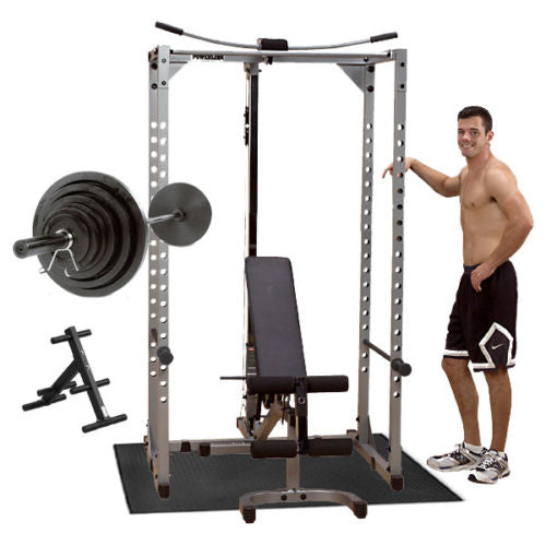 Powerline Power Rack PPR200X with Bench, Lat, Weight Set, Mat & Plate Tree Package