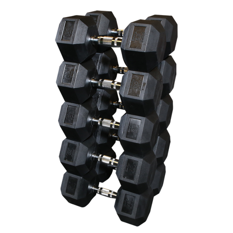 Body Solid SDRS650 Rubber Coated Hex Dumbbell Set 55 to 75 Lb