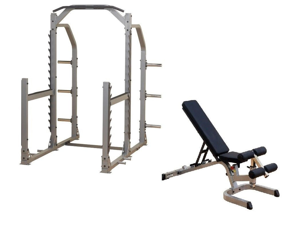 Body-Solid ProClub Line Multi Squat Rack & Flat Incline Decline Bench Package