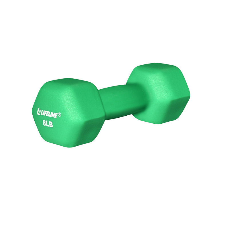 LifeLine 8LB Hex Neoprene Dumbbell - Green
