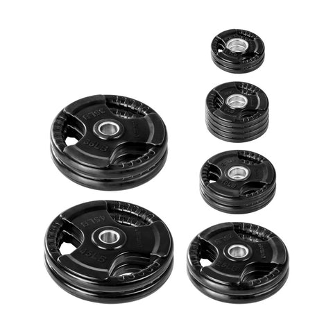 LifeLine Rubber Coated Grip Olympic Plate Weight Set