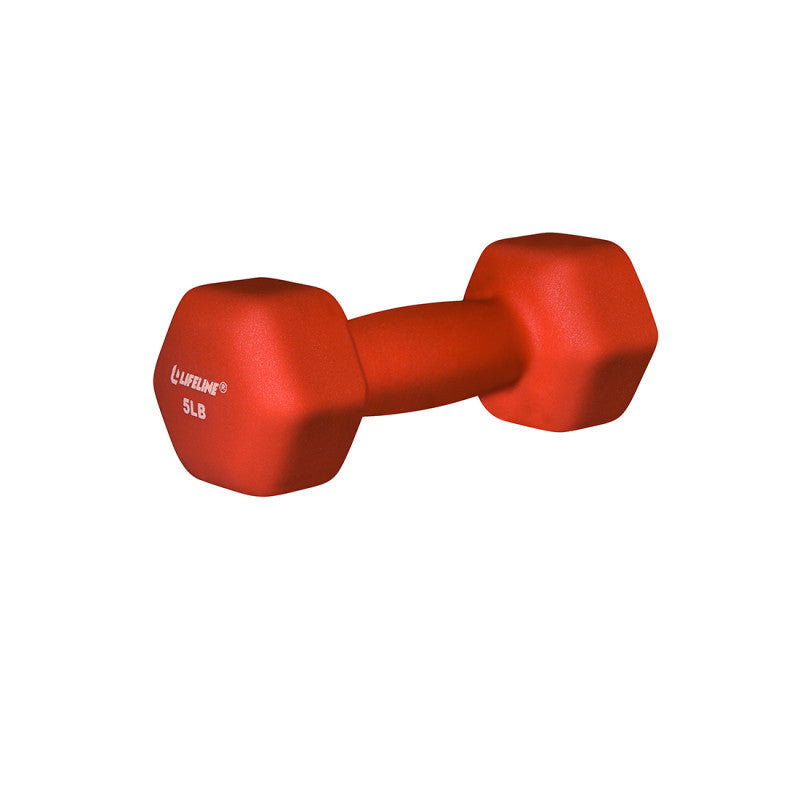 LifeLine 5LB Hex Neoprene Dumbbell - Orange