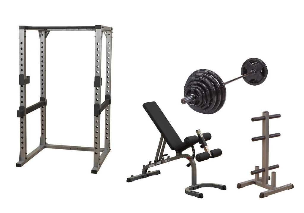 Body-Solid Pro Power Rack w/Bench, OSR300S Plate Set & Weight Tree Package