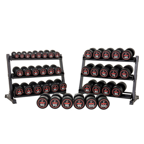 LifeLine Pro Round Rubber Dumbbell Set with Rack