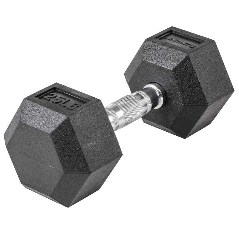 LifeLine 25LB Hex Rubber Dumbbell