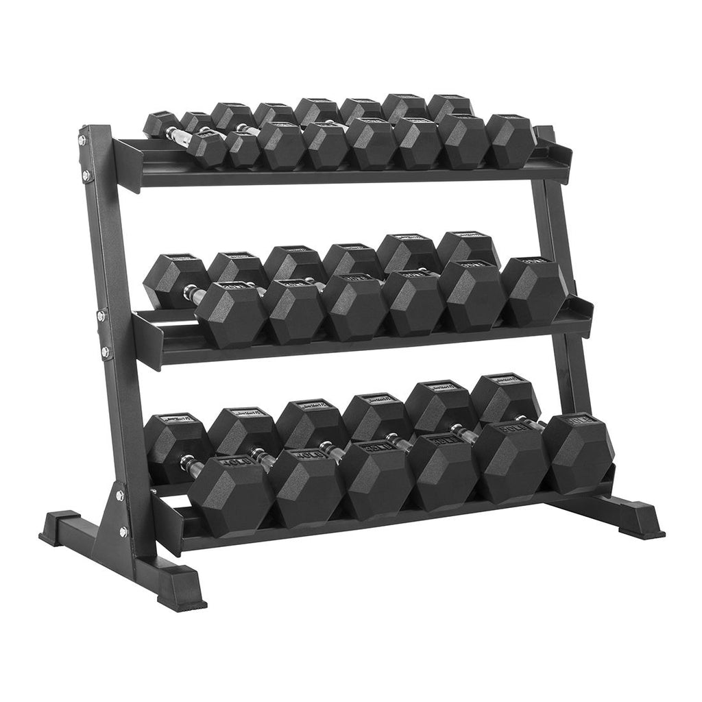 LifeLine Hex Rubber Dumbbell Set with Rack