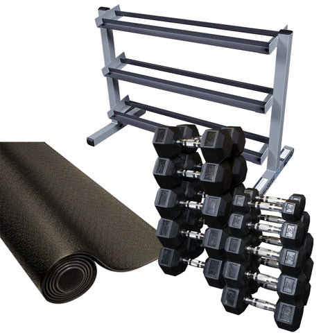 Body Solid SDRS550 Rubber Coated Hex Dumbbell Package w/ Rack And Rubber Mat