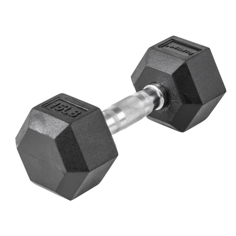 LifeLine 15LB Hex Rubber Dumbbell