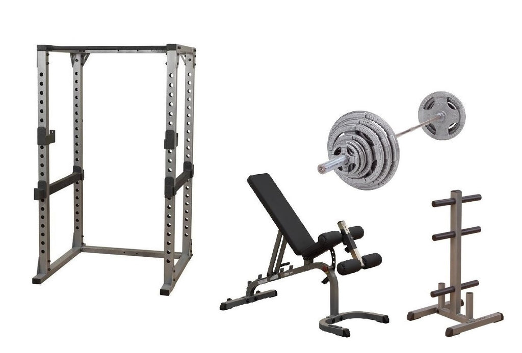 Body-Solid Pro Power Rack w/Bench, OST300S Plate Set & Weight Tree Package