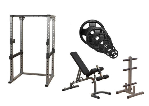 Body-Solid Pro Power Rack w/Bench, ORST255 Plates & Weight Tree Package