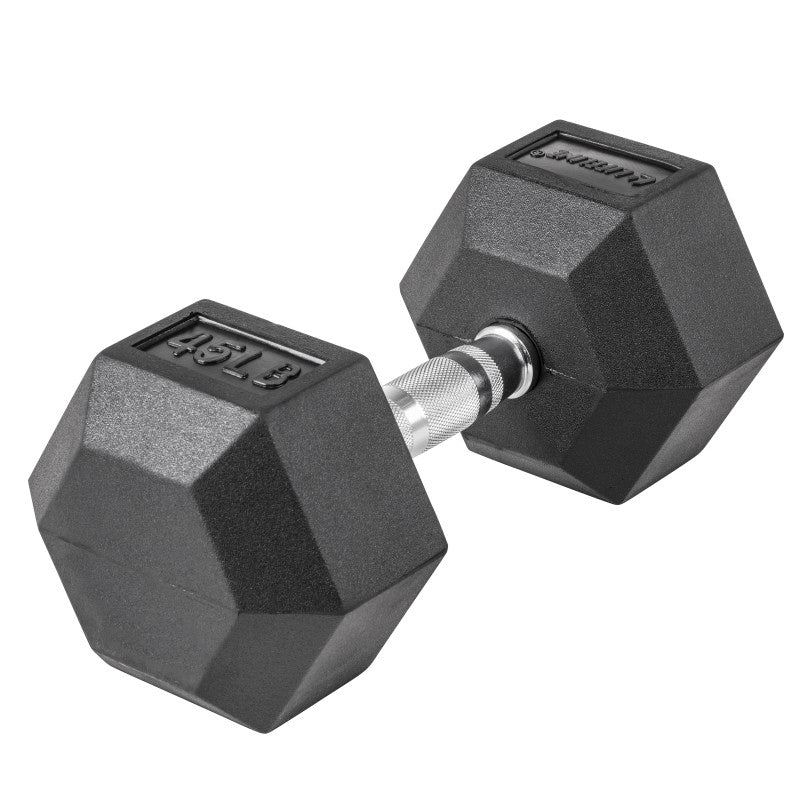 LifeLine 45LB Hex Rubber Dumbbell