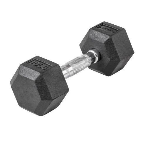 LifeLine 10LB Hex Rubber Dumbbell