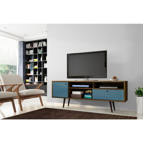Manhattan Comfort Liberty 70.86 Mid Century - Modern TV Stand with 4 Shelving Spaces and 1 Drawer - Rustic Brown and Aqua Blue - TV Stands