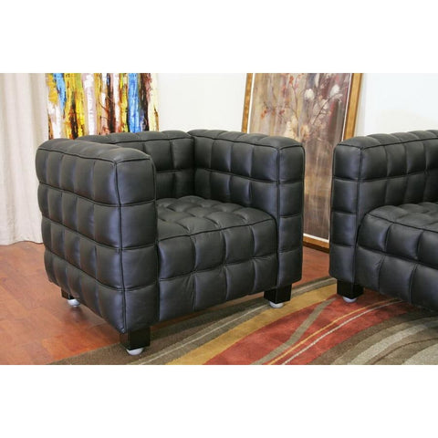 Baxton Studio Arriga Black Leather Modern Sofa and Chair 2-Piece Set - Living Room Furniture