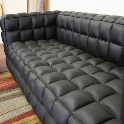 Baxton Studio Arriga Black Leather Modern Sofa - Living Room Furniture