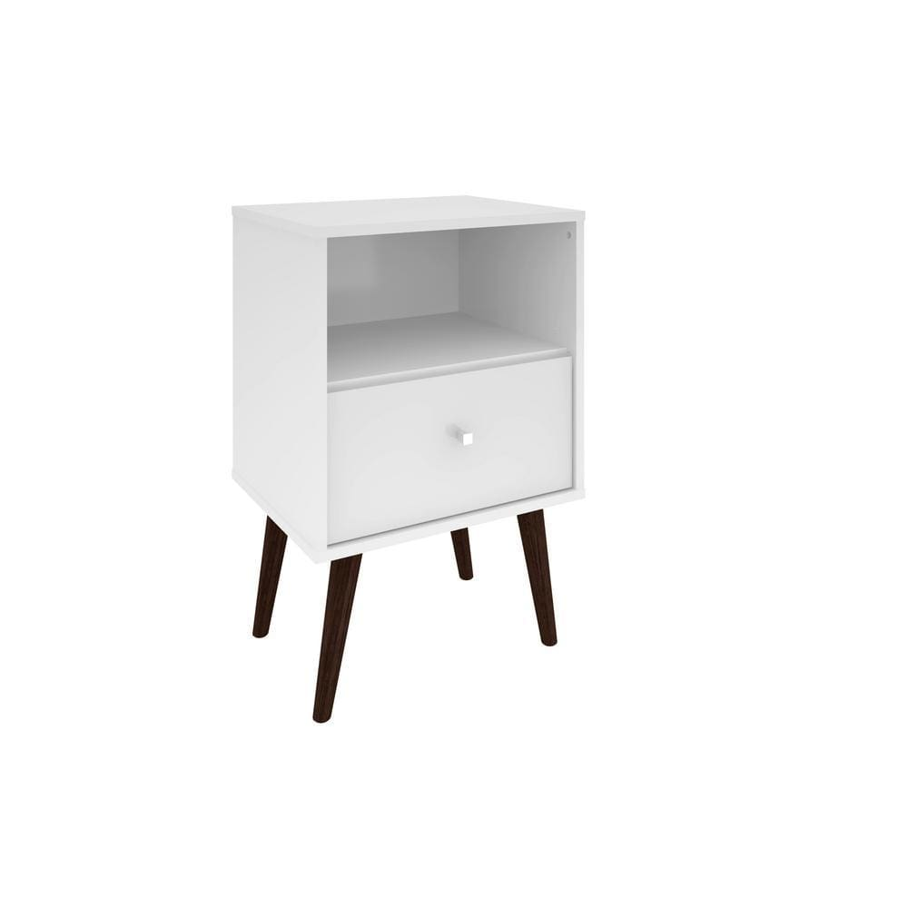 Manhattan Comfort Liberty Mid Century - Modern Nightstand 1.0 with 1 Cubby Space and 1 Drawer - White - Other Tables