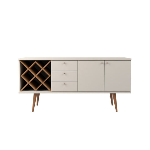 Manhattan Comfort Utopia 4 Bottle Wine Rack Sideboard Buffet Stand with 3 Drawers and 2 Shelves - Off White and Maple Cream - Storage