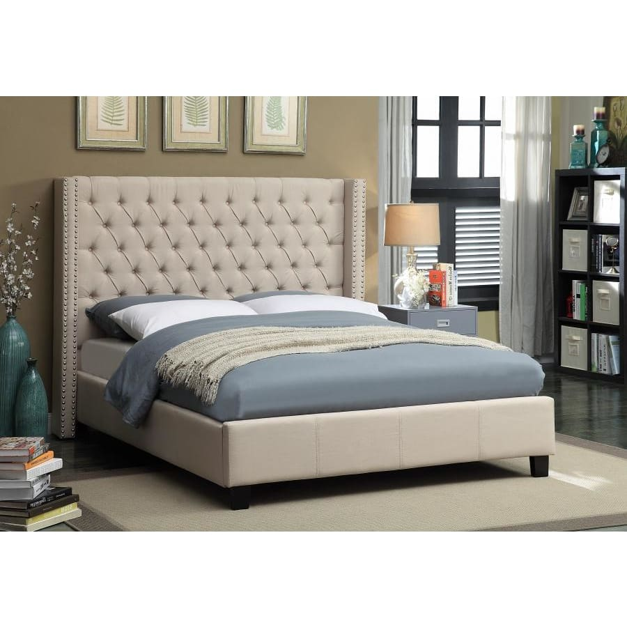 Meridian Furniture Ashton Linen Full Bed - Beige - Bedroom Beds