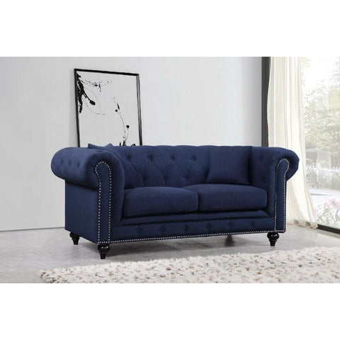 Meridian Furniture Chesterfield Linen Loveseat - Navy - Loveseats