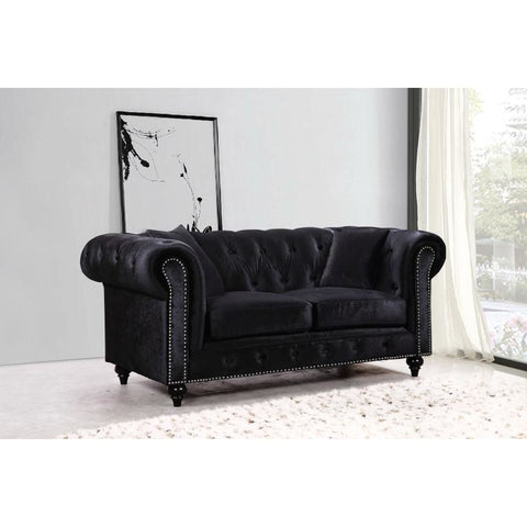 Meridian Furniture Chesterfield Velvet Loveseat - Loveseats