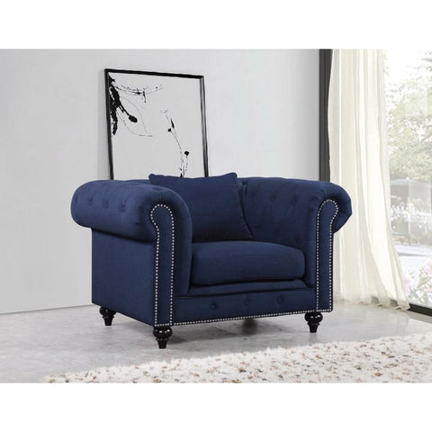 Meridian Furniture Chesterfield Linen Chair - Navy - Chairs