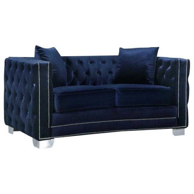 Meridian Furniture Reese Velvet Loveseat - Blue - Loveseats