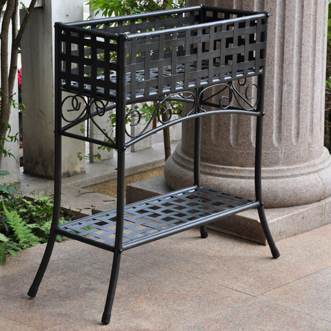 International Caravan Mandalay Iron Rectangular Plant Stand - Antique Black - Outdoor Furniture