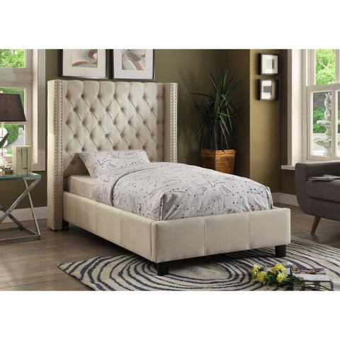 Meridian Furniture Ashton Linen Twin Bed - Beige - Bedroom Beds