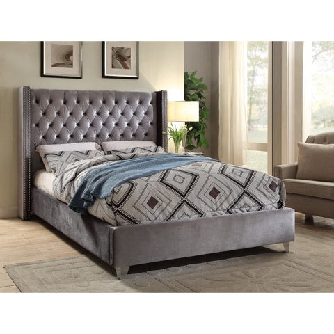 Meridian Furniture Aiden Velvet Full Bed - Grey - Bedroom Beds