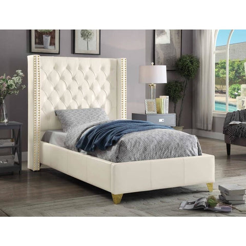 Meridian Furniture Soho White Bonded Leather Twin Bed - Bedroom Beds