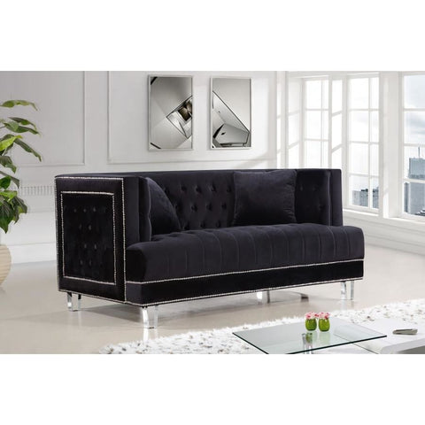 Meridian Furniture Lucas Velvet Loveseat - Black - Loveseats