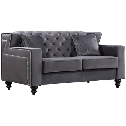 Meridian Furniture Harley Velvet Loveseat - Grey - Loveseats
