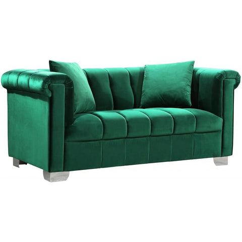 Meridian Furniture Kayla Velvet Loveseat - Green - Loveseats