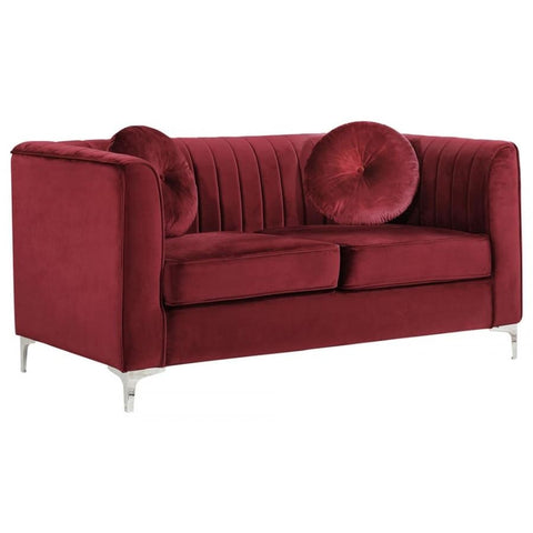 Meridian Furniture Isabelle Velvet Loveseat - Burgundy - Loveseats