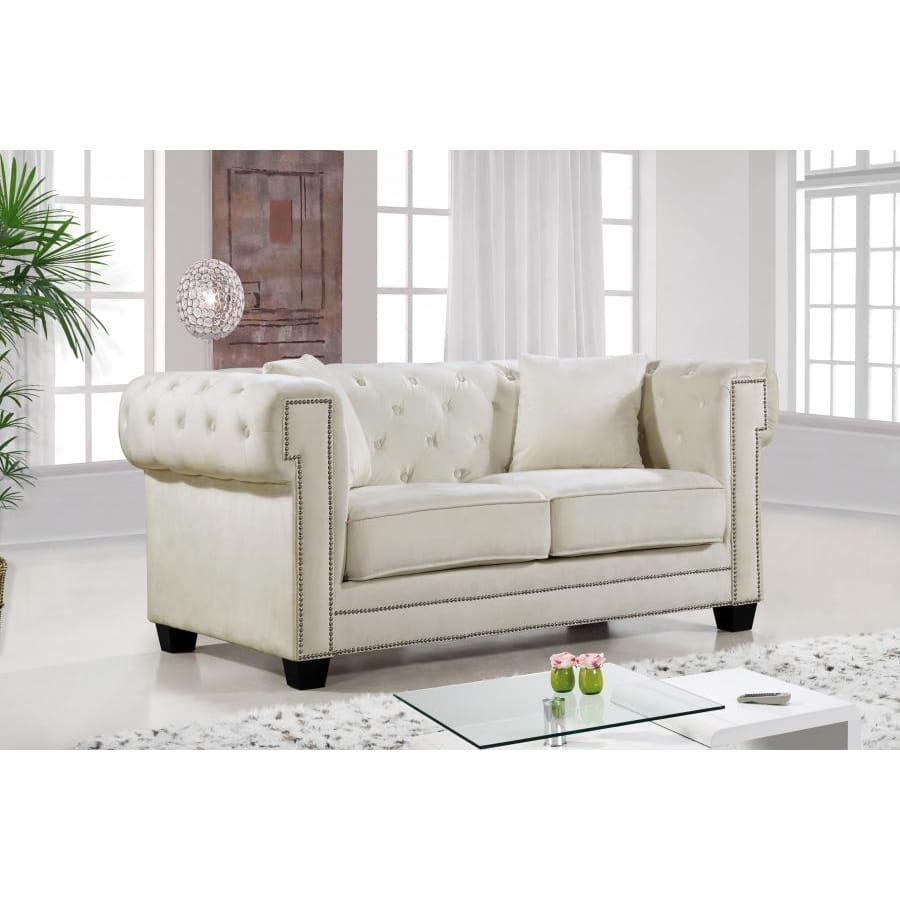 Meridian Furniture Bowery Velvet Loveseat - Cream - Loveseats