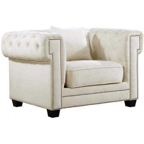 Meridian Furniture Bowery Velvet Chair - Cream - Chairs